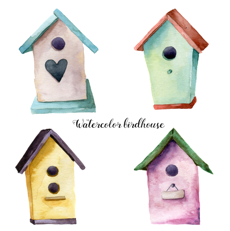 nesting box: Watercolor birdhouse set. Hand painted nesting box isolated on white background. For design, print, fabric