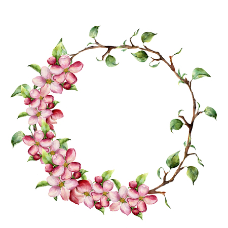 Watercolor wreath with tree branches with leaves and apple blossom. Hand painted floral illustration isolated on white background. Spring elements for design. 免版税图像