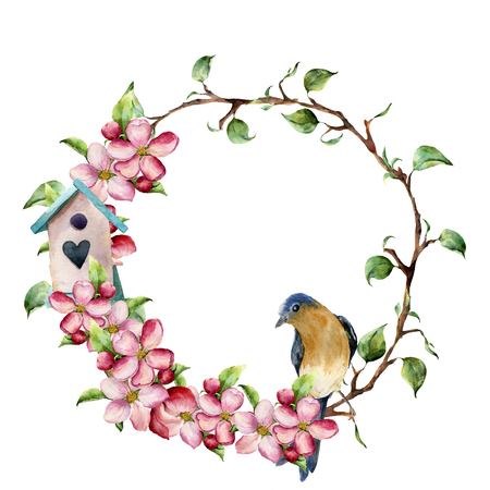 bough: Watercolor wreath with tree branches, apple blossom, bird and birdhouse. Hand painted floral illustration isolated on white background. Spring elements for design. Stock Photo