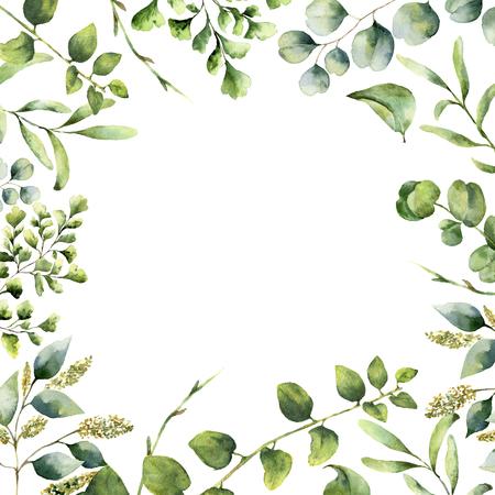 Waterverf bloemenframe. Handgeschilderde planten kaart met eucalyptus, varen en lente groen takken geïsoleerd op een witte achtergrond. Print voor ontwerp of achtergrond. Stockfoto