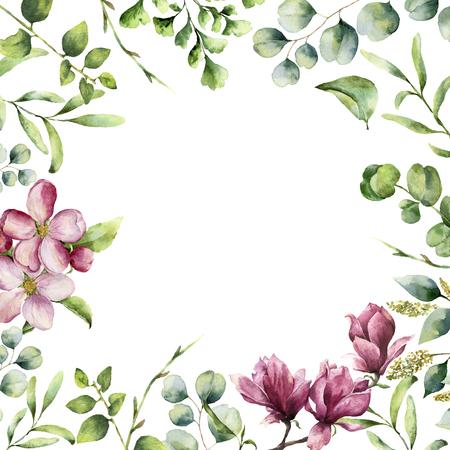 ハーブと花の水彩画の花のフレーム。手描きのシダ、ユーカリの植物カード春の緑枝、桜やモクレンの白い背景で隔離。