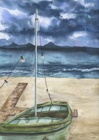 Watercolor summer print with sea landscape and old boat. Hand painted stormy sky with clouds, sea, sand coast, shallop. Artist card for design. Stock Photo