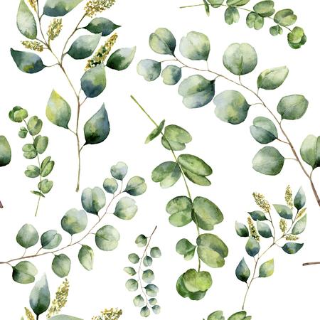 Waterverf patroon met eucalyptus. Handgeschilderde bloemenornament met zilveren dollar, gezaaid en baby eucalyptus takken geïsoleerd op een witte achtergrond. Voor stof, druk of ontwerp