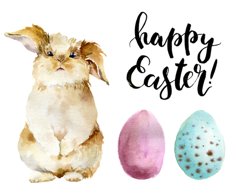 Watercolor easter set. Hand painted bunny, colored eggs and Happy Easter lettering isolated on white background. Illustration with traditional symbols  for design or print. Stock Photo
