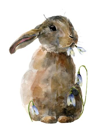 Waterverfpaashaas met sneeuwklokjes. Handgeschilderde kaart met traditionele symbolen geïsoleerd op een witte achtergrond. Schattige baby konijn illustratie voor ontwerp. Stockfoto - 73393887