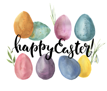 Watercolor easter card with colored eggs. Hand painted print with traditional symbols, grass and snowdrops isolated on white background. Illustration with Happy Easter lettering for design or fabric. Stock Photo