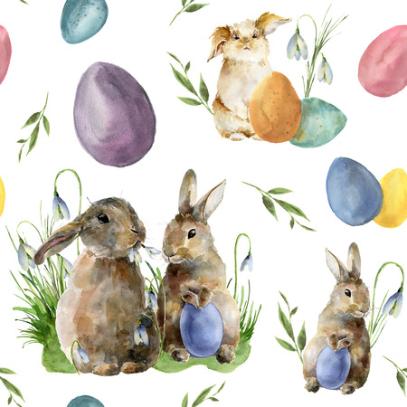 Watercolor easter pattern with rabbit and egg. Holiday ornament with bunny, colored eggs and snowdrops isolated on white background. Nature illustration for design or fabric.