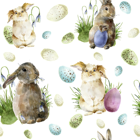 Watercolor easter pattern with rabbit. Holiday ornament with bunny, colored eggs and snowdrops isolated on white background. Nature illustration for design or fabric. Stock Photo