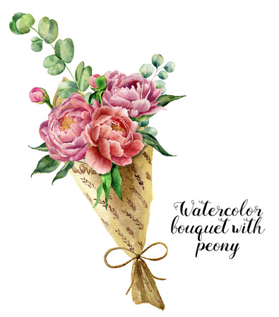Watercolor bouquet with peony. Floral illustration with peony and eucalyptus branches isolated on white background. Nature print for design or card