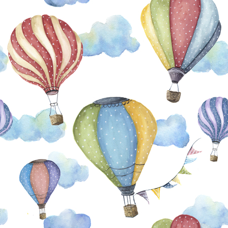 Watercolor pattern with cartoon hot air balloon. Transport ornament with flag garlands and clouds isolated on white background. Stockfoto