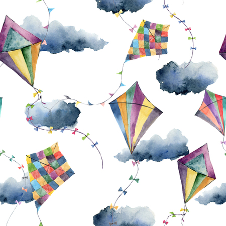 129 kite border stock vector illustration and royalty free kite watercolor pattern with kites hand painted vintage illustrations isolated on white background for design voltagebd Image collections