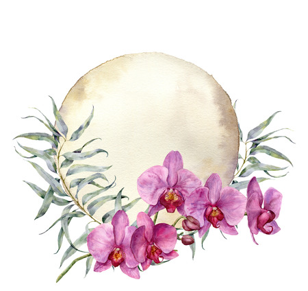 Waterverf uitstekende kaart met orchideeën en eucalyptusbladeren. Handgeschilderde bloemen botanische illustratie geïsoleerd op een witte achtergrond. Voor ontwerp of print. Stockfoto - 75388256