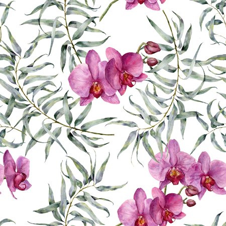 Watercolor tropic pattern with eucalyptus and orchids. Hand painted exotic ornament with branches with leaves isolated on white background. Natural print for design, fabric.