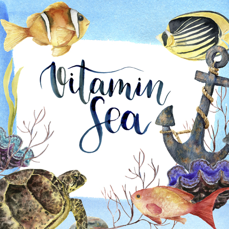 Watercolor tropic sea card with lettering Vitamin Sea. Hand painted tropic fish, old anchor, sea anemones, seaweeds, coral isolated on white background. Underwater illustration.