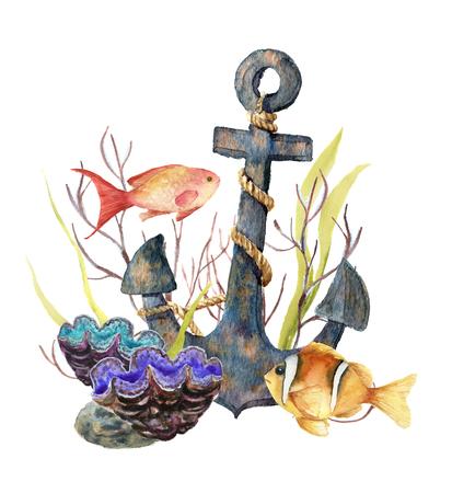 수채화 트로피 바다 카드입니다. 손으로 만든 트로픽 물고기, 오래 된 앵커, 말미, 해 초, 산호 흰색 배경에 고립. 디자인, 패브릭 또는 인쇄에 대 한 수