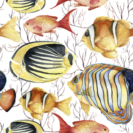 Watercolor tropic sea pattern. Hand painted tropic fish: angelfish, butterflyfish, clownfish and coral isolated on white background. Underwater illustration. Stock Photo