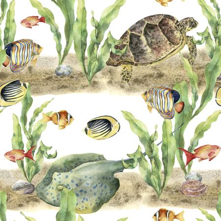 動物や魚と水彩の熱帯パターン。手描きの熱帯の魚、海藻、アカエイ、小石、ウミガメ、貝殻の白い背景に分離します。ファブリックまたは印刷用