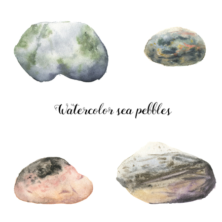 Watercolor sea pebbles. Hand painted underwater illustration with stones isolated on white background. For design, fabric or print.