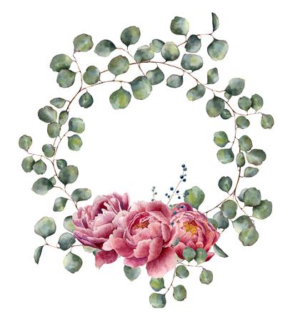 ユーカリの枝と牡丹と水彩の花輪。手描きのラウンドと花のイラストは、シルバー ダラー ユーカリとピンクの花が白い背景で隔離の葉します。デザ