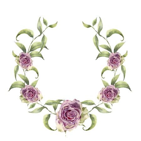 Watercolor wreath with greenery branch and roses. Hand painted floral frame with flowers and leaves isolated on white background. For design or print 免版税图像 - 77232518