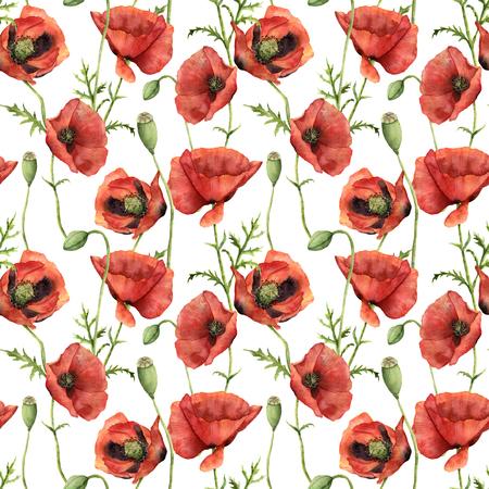 ポピーと水彩のシームレスなパターン。手描きの花、葉、種子カプセル、白い背景で隔離の枝と花のイラスト。デザイン、印刷の背景に 写真素材