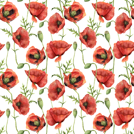 Watercolor seamless pattern with poppies. Hand painted floral illustration with flowers, leaves, seed capsule and branches isolated on white background. For design, print and background