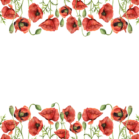 Watercolor floral border with poppies. Hand painted illustration with flowers, leaves, seed capsule and branches isolated on white background. For design, print and background