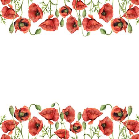 Waterverf bloemengrens met papavers. Handgeschilderde afbeelding met bloemen, bladeren, zaad capsule en takken geïsoleerd op een witte achtergrond. Voor ontwerp, print en achtergrond