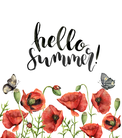 Watercolor floral card with Hello summer lettering. Hand painted Stok Fotoğraf