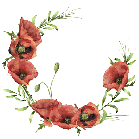 Watercolor wreath with poppies and greenery. Hand painted floral illustration with flowers, leaves and branch of grass isolated on white background. For design or print. Stock Photo