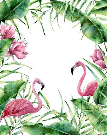 水彩トロピカル フレーム。手描きのヤシの木とエキゾチックな花の国境の葉、バナナ支店、マグノリアの花、フラミンゴに孤立した白い背景。結婚