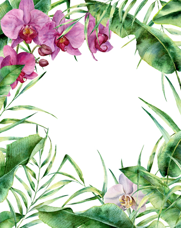 Watercolor tropical floral frame. Hand painted exotic border with palm tree leaves, banana branch and orchids isolated on white background. For wedding and greeting design or print.