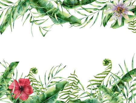 水彩トロピカル花柄カード。手描きの夏フレーム