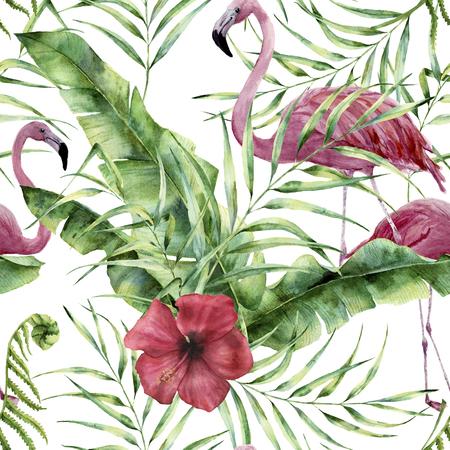エキゾチックな花、葉、フラミンゴで水彩花柄。手描きの熱帯植物で飾り: ハイビスカス、ヤシの葉、白い背景で隔離の枝。デザインや生地に