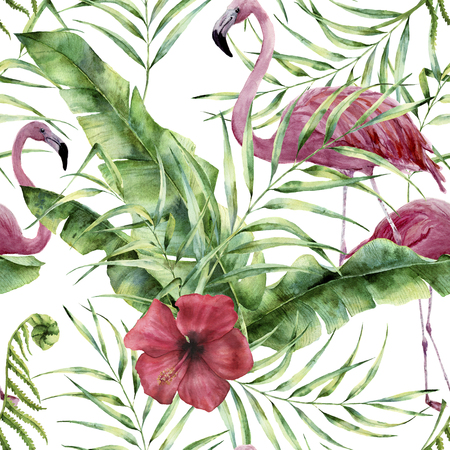 Watercolor floral pattern with exotic flowers, leaves and flamingo. Hand painted ornament  with tropical plant: hibiscus, palm leaves and branches isolated on white background. For design or fabric