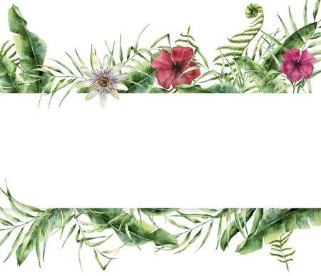 수채화 열 대 꽃 카드입니다. 손으로 팜 나무 잎, 펀 지점, 바나나와 목련 잎, 흰색 배경에 고립 히 비 스커 스 꽃 여름 프레임을 그린. 디자인을위한 이