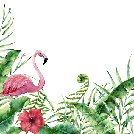Watercolor tropical nature card. Hand painted floral frame with palm tree leaves, fern branch, banana and magnolia leaves, hibiscus flower and flamingo isolated on white background. Greeting design