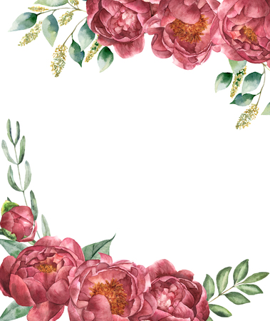 Watercolor vintage floral card. Retro style posy set with eucalyptus branches, peony, greenery and leaves isolated on white background. Flower hand painted illustration for design.