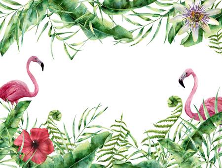 フラミンゴと水彩トロピカル花柄カード。ヤシの木と手彩色夏フレーム葉、シダ支店、バナナと朴葉、ハイビスカスの花が白い背景で隔離。デザイ