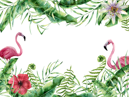 Watercolor tropical floral card with flamingo. Hand painted summer frame with palm tree leaves, fern branch, banana and magnolia leaves, hibiscus flower isolated on white background. For design Foto de archivo