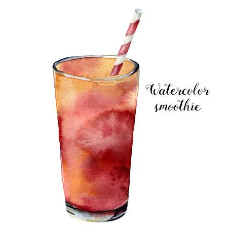 Aquarel smoothie. Handgeschilderde tropische zomer drankje geïsoleerd op een witte achtergrond. Voedsel illustratie. Voor ontwerp of achtergrond.