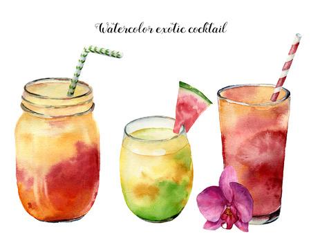 Aquarel exotische cocktails ingesteld. Handgeschilderde tropische zomer drankje geïsoleerd op een witte achtergrond. Voedsel illustratie. Voor ontwerp of achtergrond.