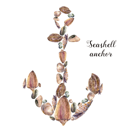 Watercolor anchor with seashells and sea pebbles. Hand painted nautical illustration isolated on white background. For design, print or background Reklamní fotografie