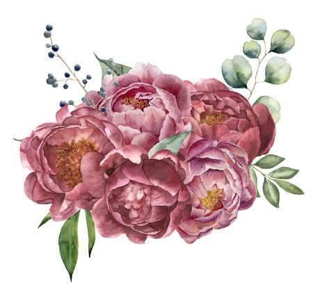 Watercolor bouquet of peony, eucalyptus and greenery. Hand painted floral composition with flowers, berries and leaves isolated on white background. Vintage botanical illustration for design. Stock fotó