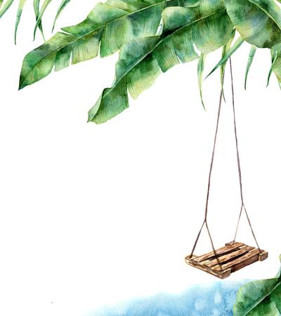 Aquarel tropische kaart met schommel. Handgeschilderde veranda schommel op bananen palm geïsoleerd op een witte achtergrond. Tropische print voor ontwerp, print of achtergrond
