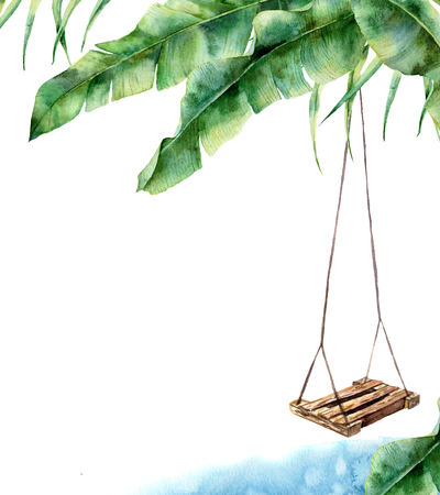 Watercolor tropical card with swing. Hand painted porch swing on banana palm isolated on white background. Tropical print for design, print or background