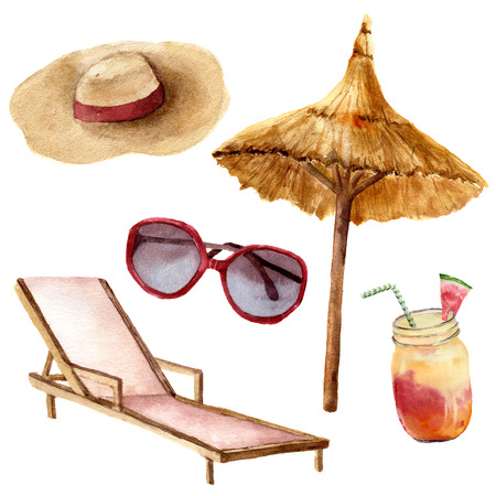 Watercolor tropical vacation set. Hand painted summer beach objects: sunglasses, beach umbrella, coctail, beach chair and strow hat. Illustration isolated on white background. Stock Photo