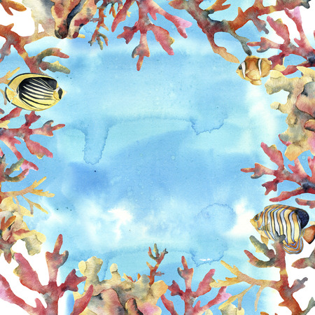 Watercolor card with sea, coral and fish. Hand painted underwater frame with coral branches. Tropical sea life illustration. For design, print or background. Stock Photo
