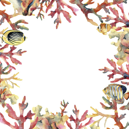 Watercolor card with coral and fish. Hand painted underwater frame with coral branches isolated on white background. Tropical sea life illustration. For design, print or background.