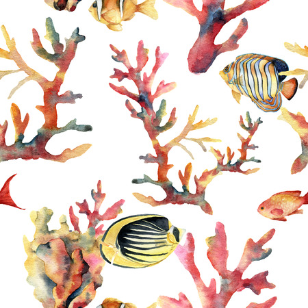 Watercolor seamless pattern with coral and fish. Hand painted ornament with underwater branches isolated on white background. Tropical sea life illustration. For design, print or background.
